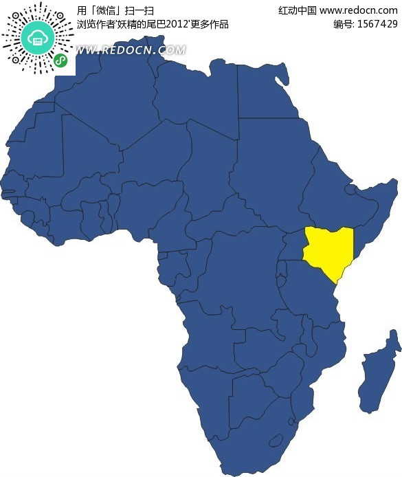 手绘非洲地图上的黄色肯尼亚地图