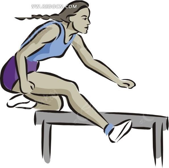 轻巧跨栏 女人 运动员 手绘 绘画 卡通 矢量素材       生活百科