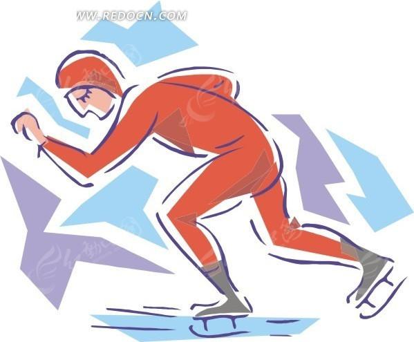 滑冰的卡通人物