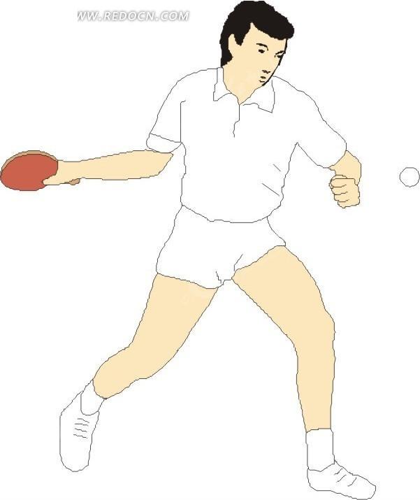 男子   乒乓球运动  体育运动 手绘  插画  卡通画  卡通形象  漫画