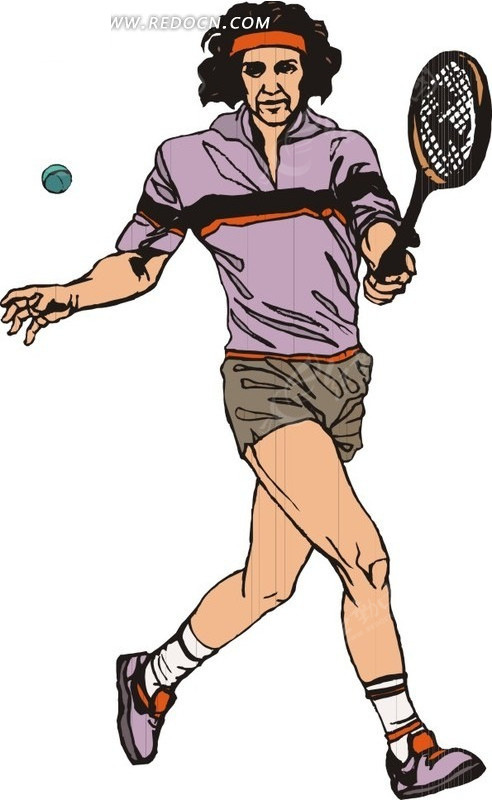 长发的网球运动员卡通画矢量图 体育运动