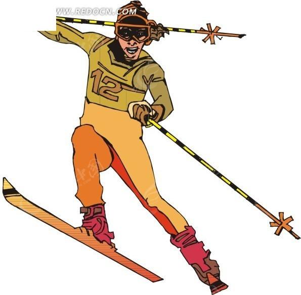 滑雪 运动 运动员 卡通人物 卡通画 插画 手绘 矢量素材 人物图片