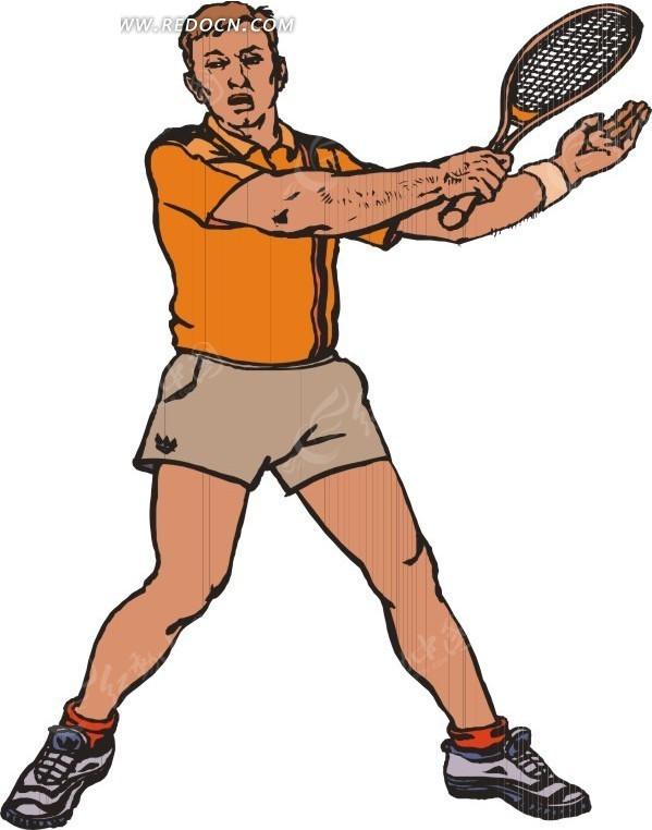 网球拍 男子 人物 体育运动 生活百科 矢量素材 eps图片