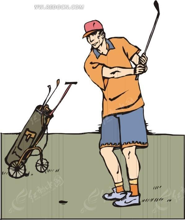 高尔夫 运动 运动员 卡通人物 卡通画 插画 手绘 矢量素材 人物图片
