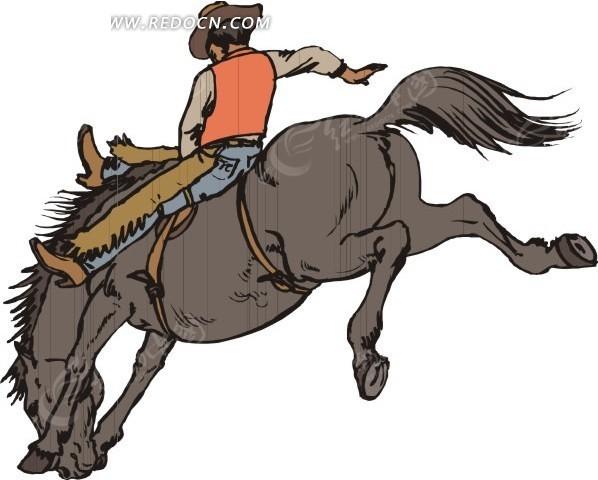 马的卡通画_骑在灰色马身上的牛仔卡通画EPS素材免费下载_红动网