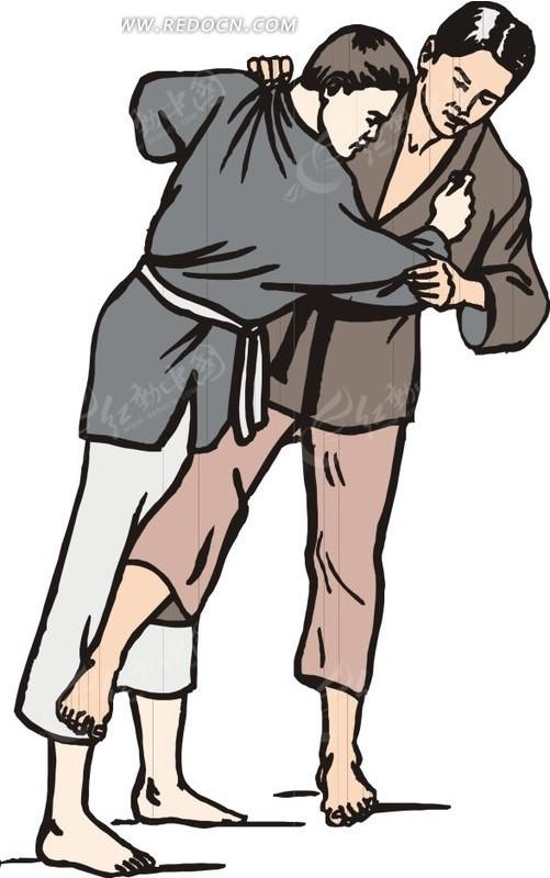 抱在一起摔跤的运动员卡通画