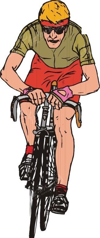 自行车运动员卡通画图片