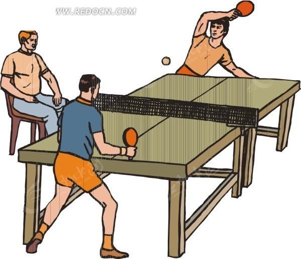 兵乓球比赛卡通画矢量图 体育运动