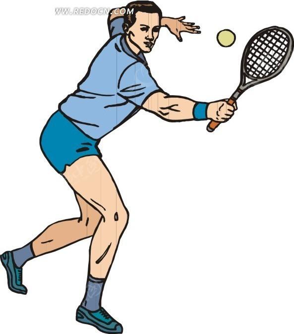 正要发球的网球运动员卡通画eps素材免费下载_红动网图片