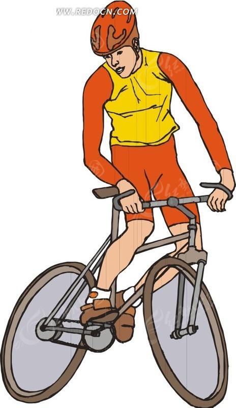 正在骑车的自行车运动员卡通画EPS免费下载 体育运动素材图片