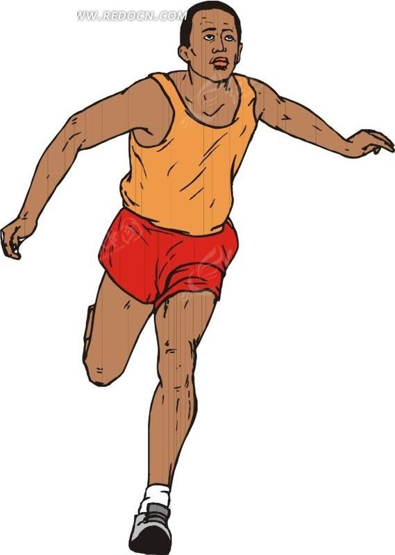 跑步的黑人运动员卡通画