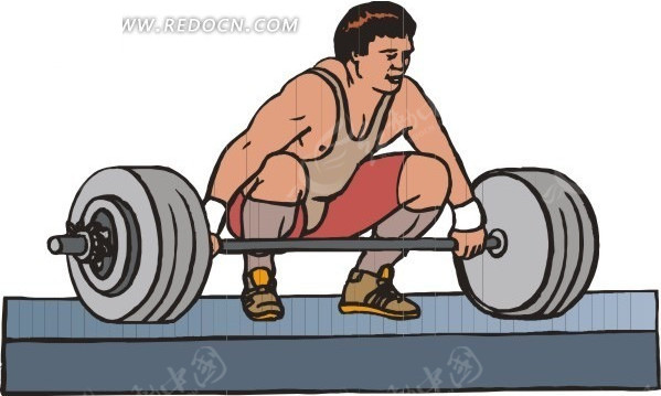 蹲着的举重运动员卡通画