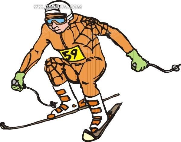 滑雪 运动 卡通人物 卡通画