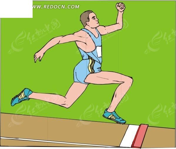 冲向终点的跑步运动员卡通画