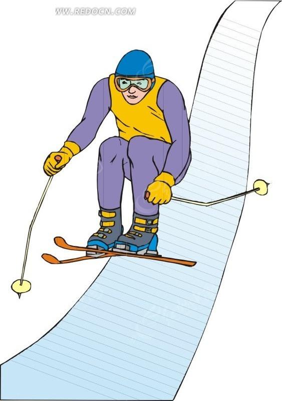 滑雪运动 手绘  插画  卡通画   漫画素材  生活百科 矢量素材