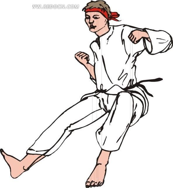 跆拳道 男人 白色衣服 卡通画 手绘 插画 矢量素材  生活百科