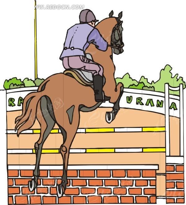 越过终点 赛马运动员 卡通画 手绘 插画 矢量素材  生活百科