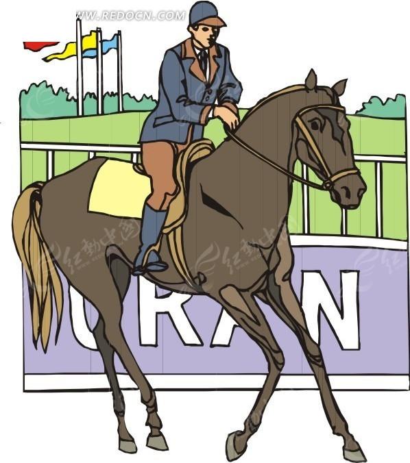 灰色马 赛马 运动员 卡通画 手绘 插画 矢量素材  生活百科