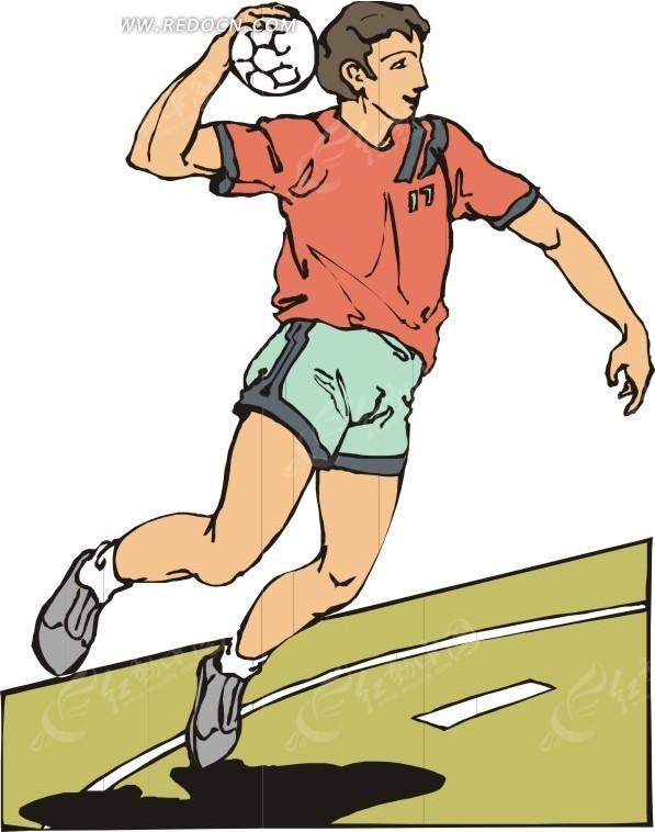 手绘 跃起 扔手球 男性运动员  生活百科 矢量素材