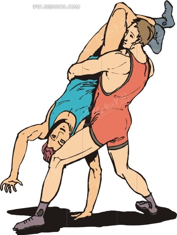 男子摔跤运动卡通画
