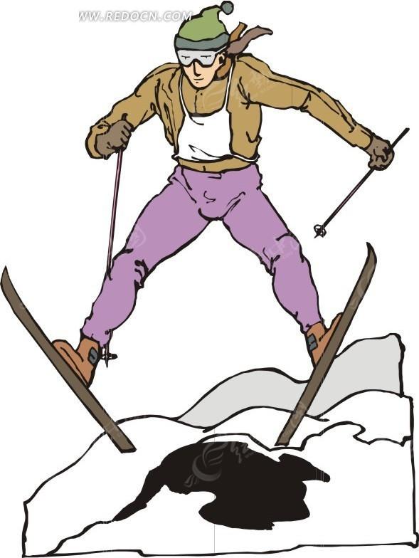 滑雪运动卡通画