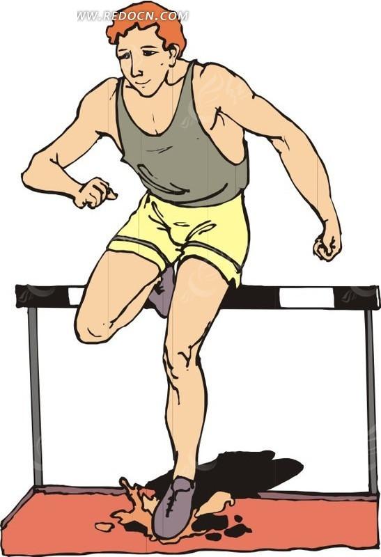 跨栏跳男子卡通画