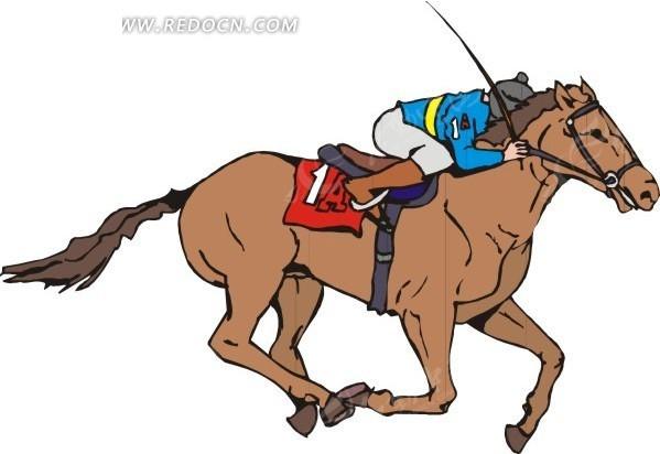骑马运动  手绘  插画