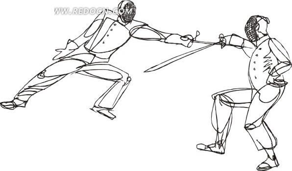 手绘击剑运动线稿图画