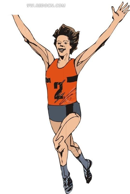 举手欢呼的跑步运动员eps素材免费下载_红动网