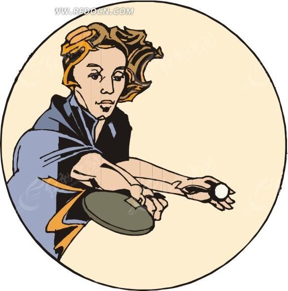 手绘打乒乓球的男人_体育运动_红动手机版