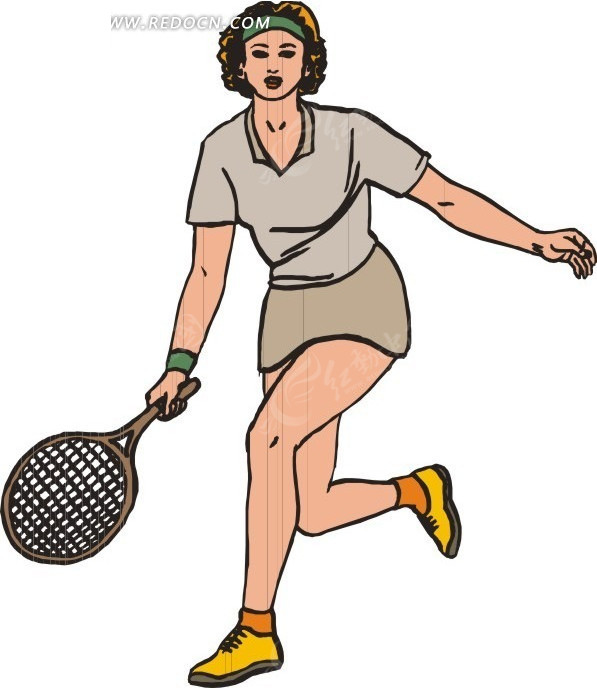 网球拍 美女 人物 体育运动 生活百科 矢量素材 eps图片