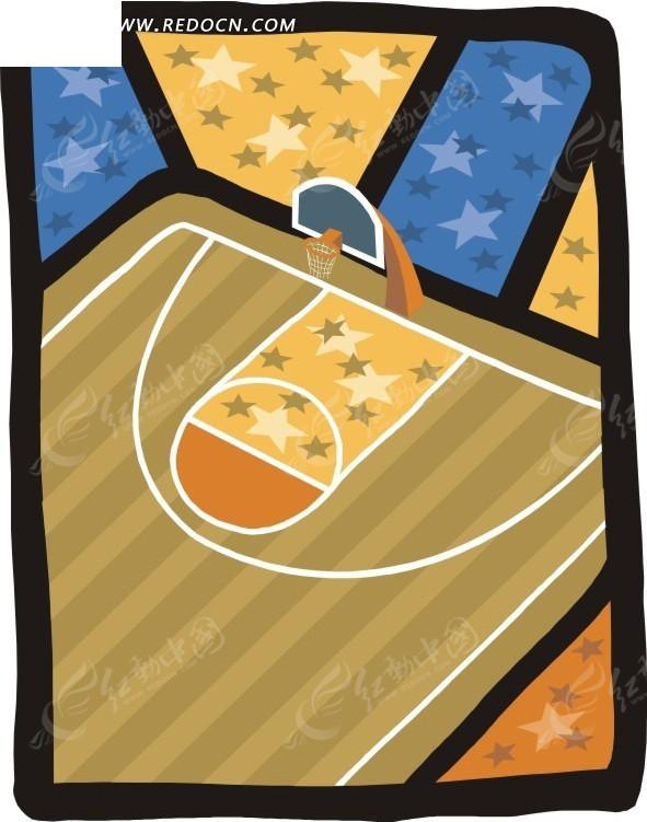 手绘彩星篮球场图片