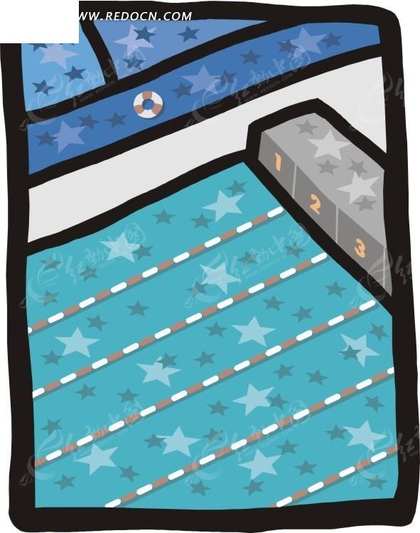 手绘游泳馆