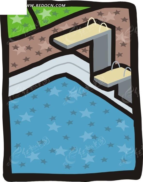 手绘跳水台