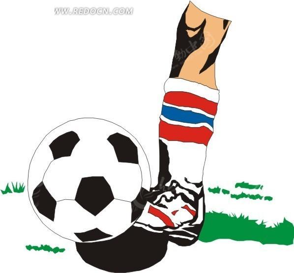 手绘脚尖点着的足球