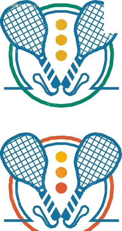 蓝色网球拍矢量图_体育运动