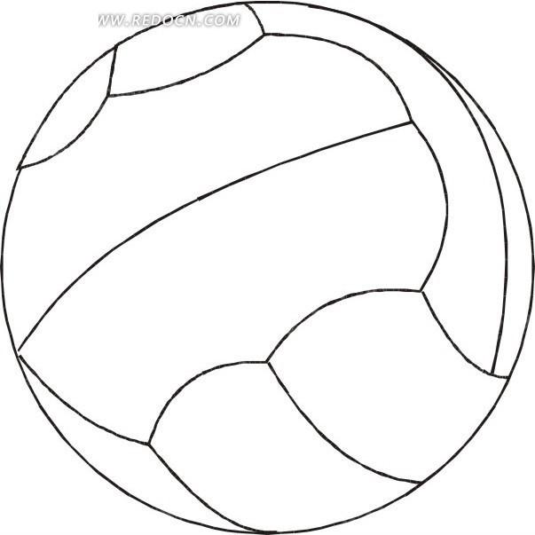 手绘线条白色排球