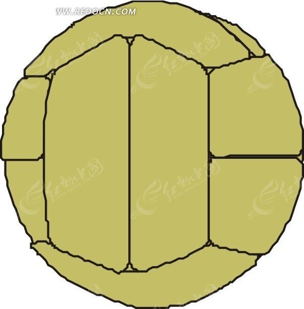 手绘线条褐色排球