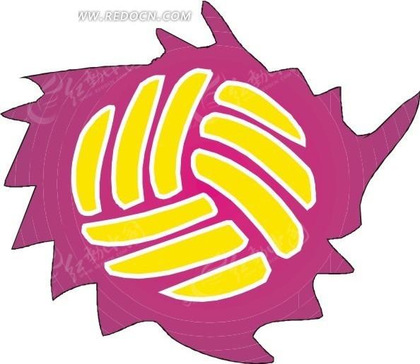 手绘排球矢量图免费下载