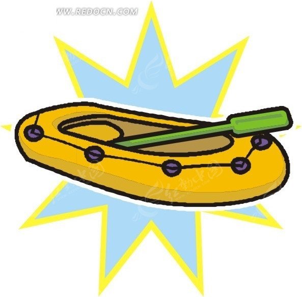 手绘黄色皮划艇