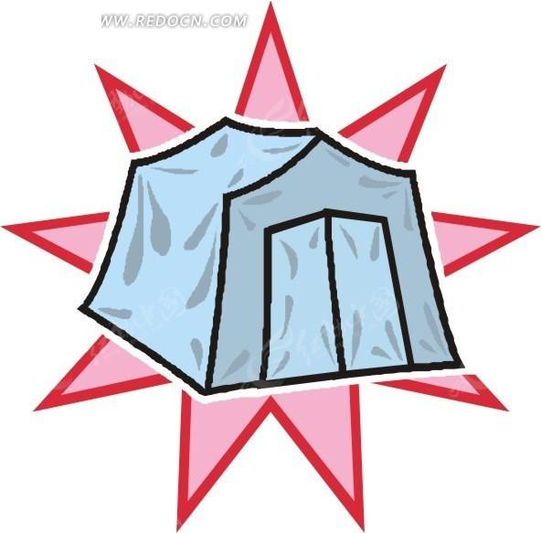 手绘蓝色的帐篷