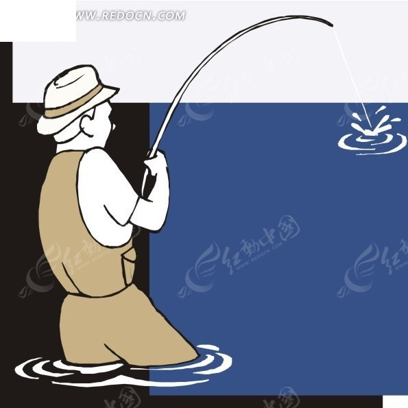 钓鱼矢量图_体育运动
