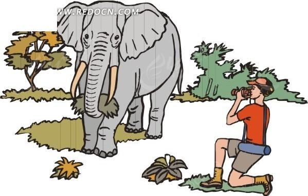 给大象拍照的卡通人物