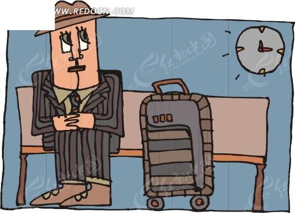 卡通人物和旅行箱