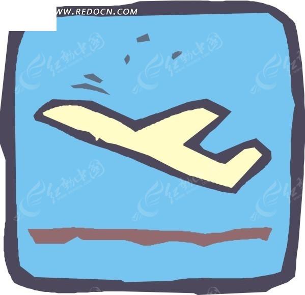 起飞的飞机 蓝色背景 卡通画