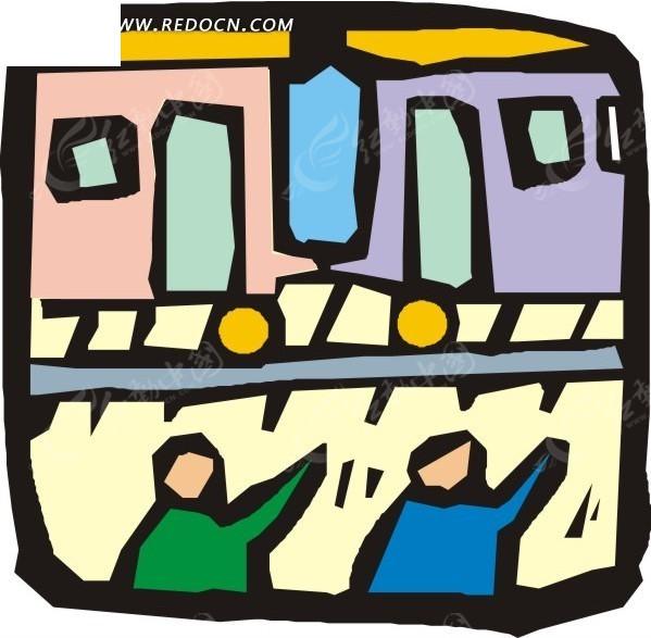 手绘等火车的人