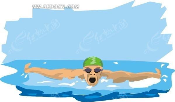 手绘游泳的人正面