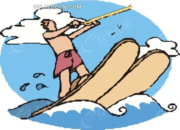 滑水 男人 海浪 白云 水橇 卡通画 手绘 插画 矢量素材  生活百科