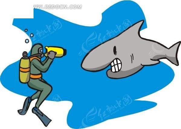 手绘给鲨鱼拍照的潜水员