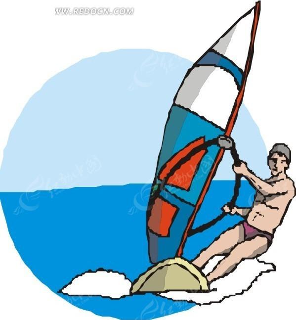 男子  帆船运动 体育运动  手绘  插画  卡通画  卡通形象  漫画素材